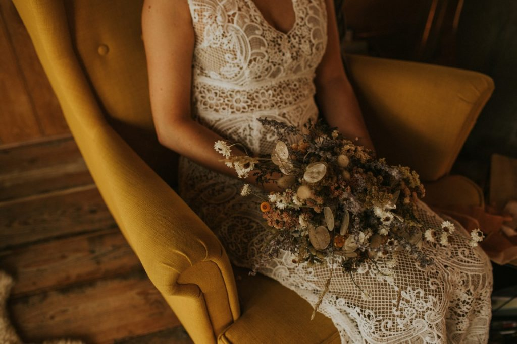 Rustic and boho dried flower bouquet