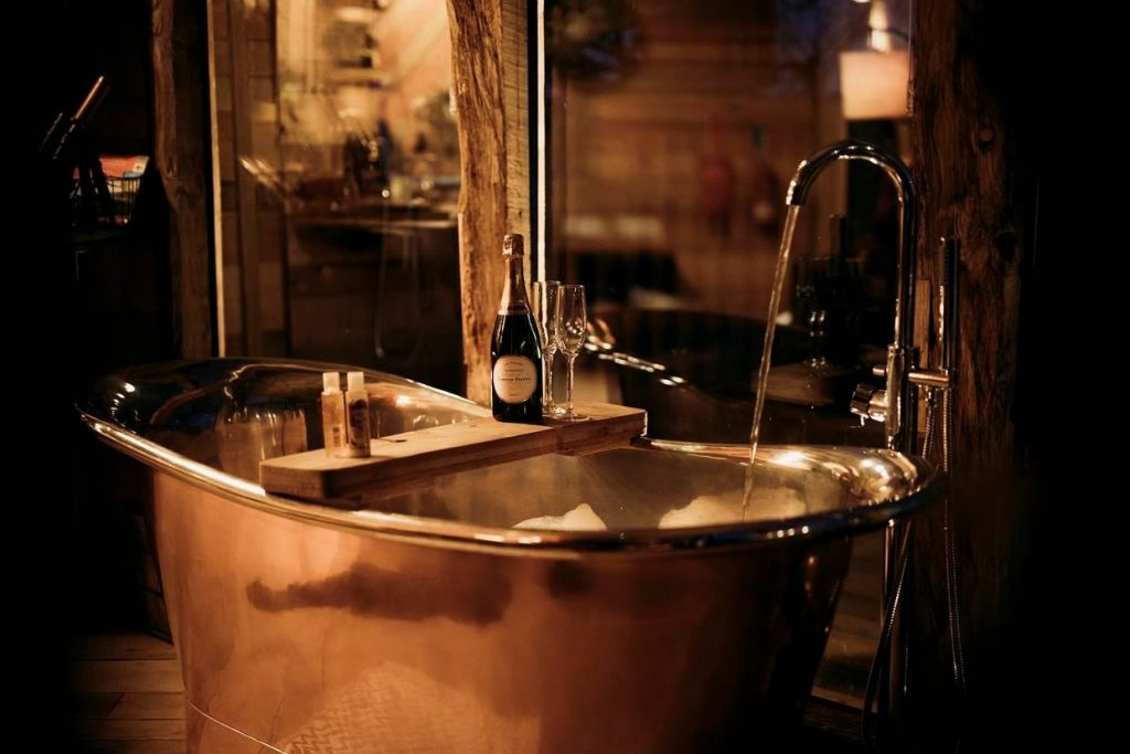 Large copper bath at this romantic getaway Wales