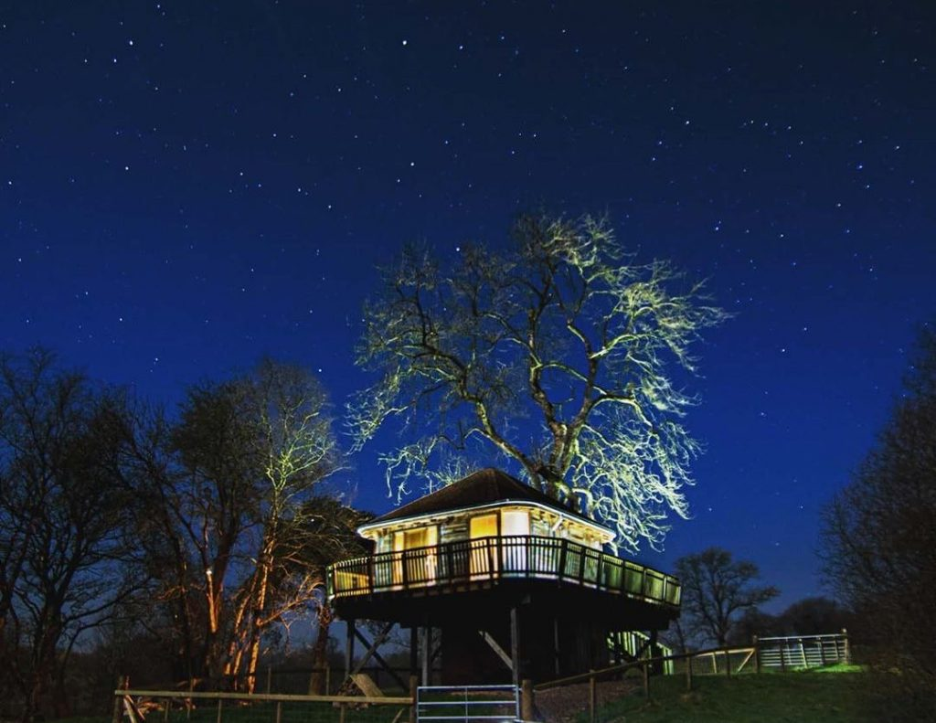 Stargazing at private treehouse in Wales